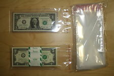 Pack of 100 Adhesive Resealable 3.5x7 Clear Poly BAGS for Currency Banknote Bill