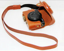 Premium Brown Leather Camera Case Bag Strap for Sony DSC-RX100 RX100 M2 RX100 II