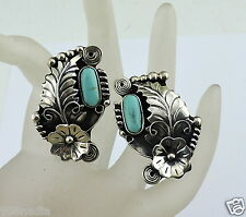 VINTAGE STERLING SILVER SIGNED ESPERANZA MEXICO EARRINGS TURQUOISE,FLOWER,BEADED