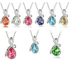 Hot New Eternal Love Teardrop Swarovski Elements Crystal Pendant Necklace