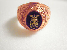 RARE Polished Copper Sz 10 USAF Military Ring w/ Blue Austrian Stone FREE #1127