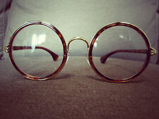 Tortise Shell Oversized Metal Frame Clear Lens Vintage Round Fashion Glasses