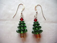 CHRISTMAS TREE EARRINGS made w/SWAROVSKI CRYSTALS Holiday Jewelry, Free Shipping