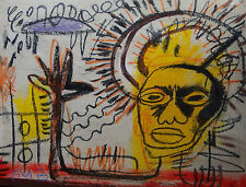 Offering unique mixed media painting, signed, Jean Michel Basquiat w COA