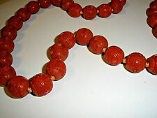 "Large 30"" Vintage Chinese Carved Cinnabar Longevity Shou Bead Necklace 15mm"