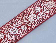 "Floral, Jacquard, Ribbon Trim. Red & Metallic Silver.  3 Yards.  1.5"" Wide"