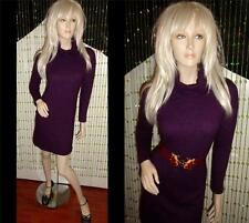 ERIC ALEXANDRE PURPLE COWL NECK LAMBSWOOL ANGORA CASHMERE SHAPELY SWEATER DRESS