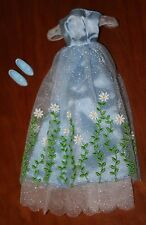 BARBIE DOLL LONG BLUE DRESS WITH MATCHING SHOES