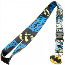 Batman Logo DC Comics Lanyard Necklace ID Holder Keychain with Sticker LICENSED