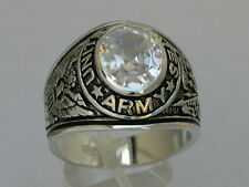 925 Sterling Silver United States Army Military Clear April CZ Men Ring Size 9