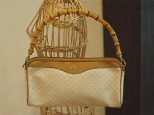Authentic Gucci Vtg Monogram Canvas Leather Trim Bag Bamboo Handle Leather Lined