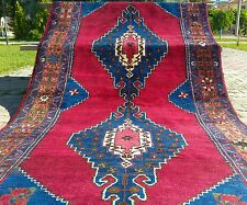 Authentic 1900-1930s Antique Wool Pile 4'4''x11'7'' Natural Dyes Runner Rug