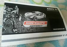 Transformers ROTF DELUXE SIDESWIPE INSTRUCTION BOOKLET ONLY
