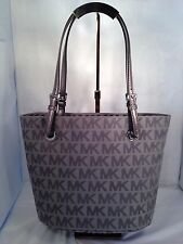 Michael Kors Jet Set Item MK Logo Grey Gray Jacquard Tote Shopper Bag Purse NWT