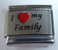I LOVE MY FAMILY Italian Charm Red Heart 9mm fits 9mm Classic Starter Bracelets