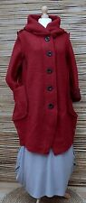 LAGENLOOK*WOOL MIX BEAUTIFUL HOODED 2 POCKETS LONG JACKET/COAT*DEEP RED* L-XL