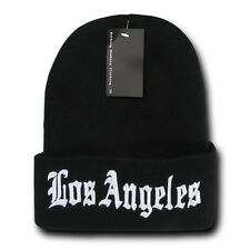 "Black & White Los Angeles LA Embroidery 12"" Long Cuffed Vintage Beanie Beanies"