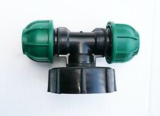 """IBC Adapter (2"""" S60X6 Coarse Thread) to 20 mm DOUBLE MDPE Compression Fitting"""