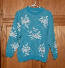 Vintage 80's Adele sparkly sweater glitter roses fairy kei, lolita, kuwaii  M