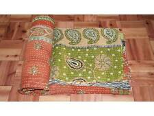 Vintage Throw Kantha Quilt Indian Handmade Cotton Bedspread Natural ThrowBlanket