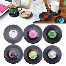 6Pcs Vinyl Records Round Coaster Record Cup Drinks Holder Mat Tableware Placemat