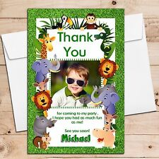 10 Personalised Jungle Animals Birthday Party Thank you PHOTO Cards N157