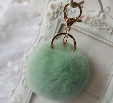 1pc Green Rex Rabbit Fur Ball Cute Car Phone Keychain Handbag Charm Domesticated