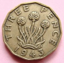 COLLECTABLE GREAT BRITAIN SCARCE  1943 KING GEORGE VI BRASS THREEPENNY BIT COIN