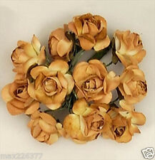 "gold brown  Paper Rose Wedding Flowers Favor Decorate .5"" 200 flowers"