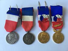 Lot 4 Medailles du Travail 1960 1962 1980 1980 Argent et Vermeille No 1 Ref C100