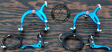 Blue OldSchool BMX Bike MX Brake Set Lever Cable Caliper Vintage Cruiser Bicycle