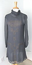 Antik Batik gray 100% silk chiffon dress metal grommet trim full lining Sz S