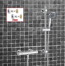 Thermostatic Exposed Shower Bar Valve Mixer Adjustable Riser Kit  + Easy Fit Kit