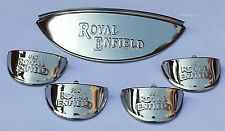 "Set of 5- ROYAL ENFIELD CHROME HEADLIGHT LAMP PEAK INDICATOR SHADE Visor 7"" beam"