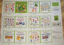 "Christmas Soft Book 12 Cats 4017 Green 100% cotton 43"" fabric by the panel 36"""