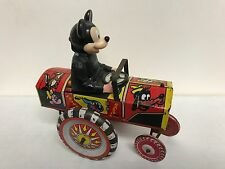 Mickey Mouse ~ Disney Marx Toys Tin Wind Up Dipsy Car ~ Vintage 1950s
