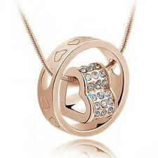 Heart Ring Crystal Rhinestone Necklace Pendant Love Gift For Wife Daughter #A TL