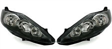 Black clear finish headlight front lights set for Ford Fiesta MK7 08-12