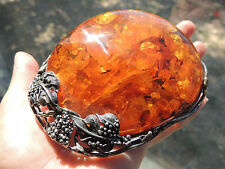 HUGE Sterling Silver & Natural Amber Buckle Amazing Collectible
