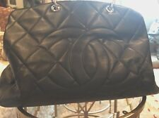 Chanel Large Fab Travel  or Work Bag In Good Condition Black And Silver Quilted