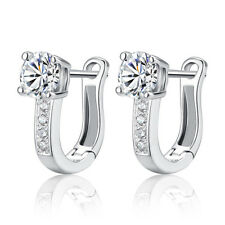 Fashion Lady 925 Sterling Silver Swarovski Zircon Crystal Ear Clip Hoop Earrings