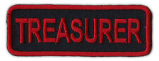 Motorcycle Jacket Embroidered Patch - Treasurer - Rank, Position - Red/Black