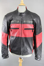 IXS BLACK & RED LEATHER BIKER JACKET WITH REMOVABLE CE PROTECTORS 40 INCH