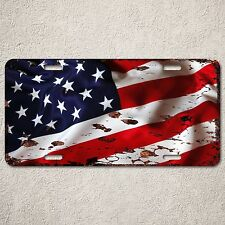 LP0041 Rust Vintage Auto Car License Plate American Flag Home Decor Sign