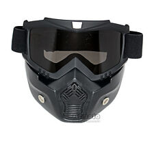 Flexible Goggles Nose Face Mask Protective Motorcycle Helmet Riding Shield Black