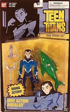 "Teen Titans 5"" Dive Action Aqualad Figure With Porpoise Bandai (Mint On Card)"