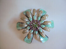 VINTAGE AQUA SILVER TONE WITH LILAC AND GREEN STONES