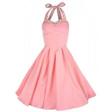 Stunning Lindy Bop Pink Polka Dot 50's Halter Evening Occasion Dress 10