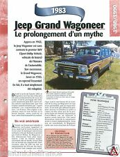SUV 4X4 Jeep Grand Wagoneer V8 1983 USA Car Auto Voiture FICHE FRANCE