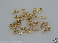 3.5mm GP flower end beads approx 100 flower cap gold plated earring findings